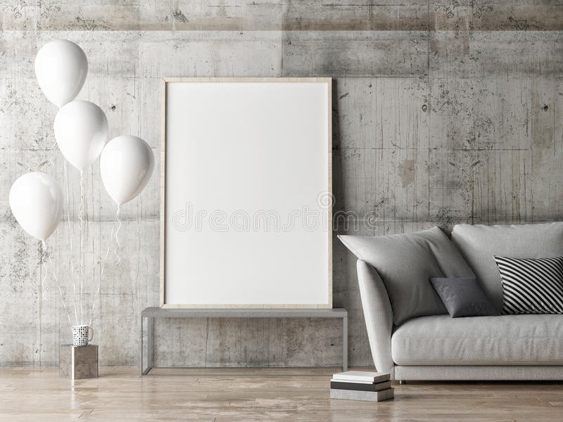 Mock up poster, living room with balloons vector illustration