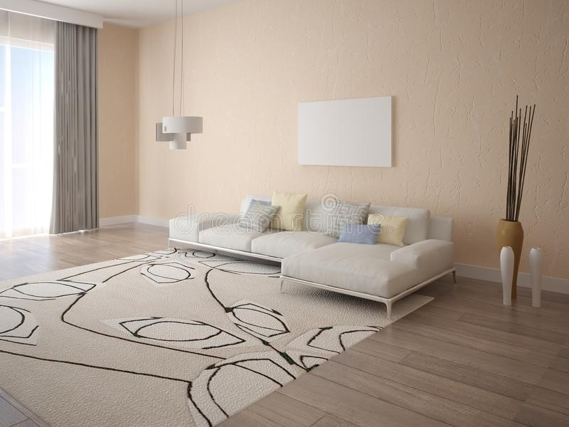 Mock up poster living room with a corner sofa. Mock up poster living room with a corner sofa on a light beige background royalty free illustration