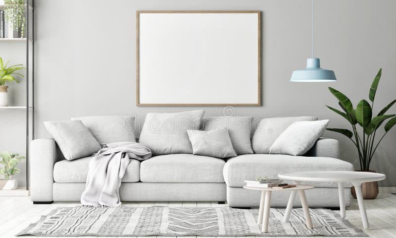Mock up poster in Living room, Scandinavian decoration, stock image