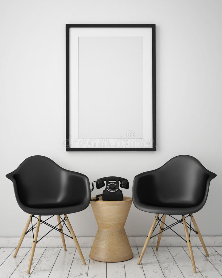 Mock up poster with loft interior background, royalty free stock image