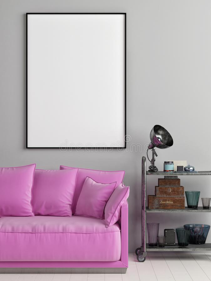 Mock up poster in Loft with pink pudding sofa. 3d render, 3d illustration royalty free illustration