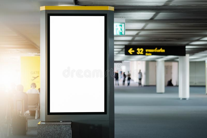 Mock up Poster media template Ads display in Subway station escalator. Blank advertising billboard at airport.Mock up Poster media template Ads display in Subway stock images
