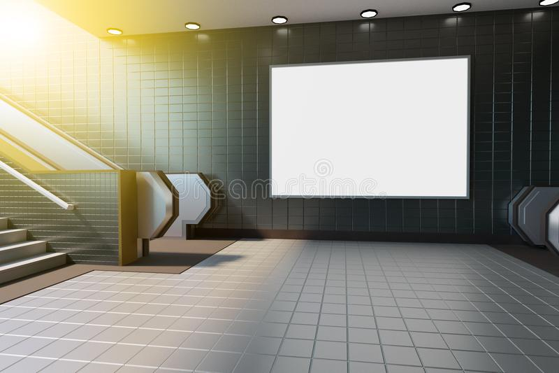 Mock up poster media template ads display in Subway station escalator. 3d rendering. Mock up poster media template ads display in Subway station escalator poster royalty free illustration