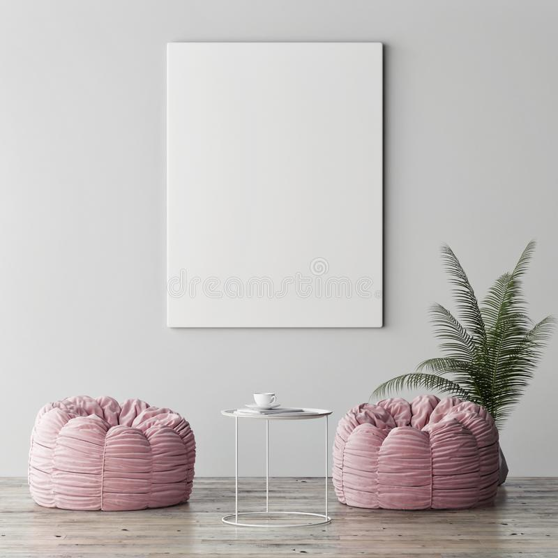 Mock up poster, minimalism interior concept, two rose poufs with palm plant stock photo