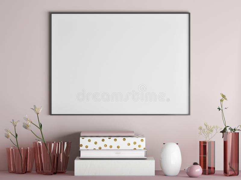 Mock up poster on minimalism rose wall with decoration vector illustration