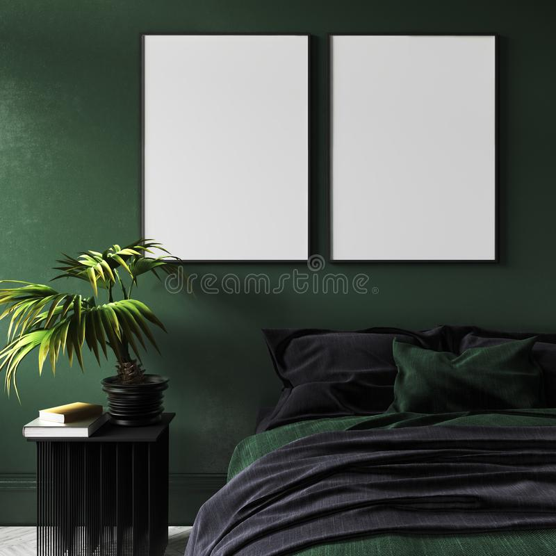 Mock-up poster in modern dark green bedroom interior with potted plant on table royalty free stock photography