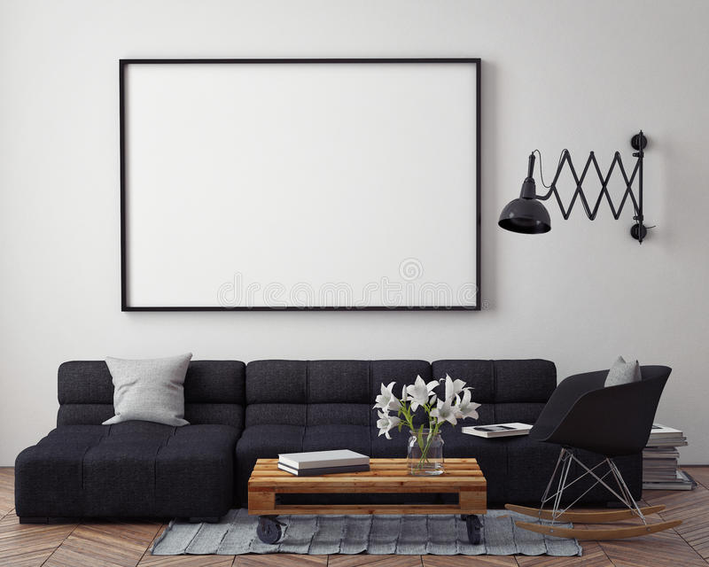 Mock up poster with modern loft interior background,. 3D render