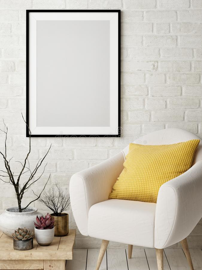 Mock up poster in Nordic interior design concept, comfortable sofa, yellow pillow, poster on white brick wall. stock illustration