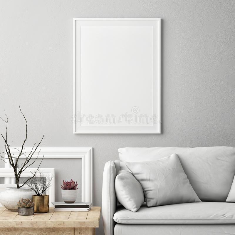 Mock up poster in Nordic living room interior,White comfortable sofa with furniture, vector illustration