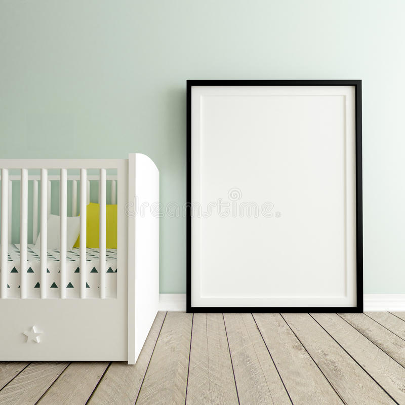 Mock Up Poster in Nursery Interior royalty free stock image
