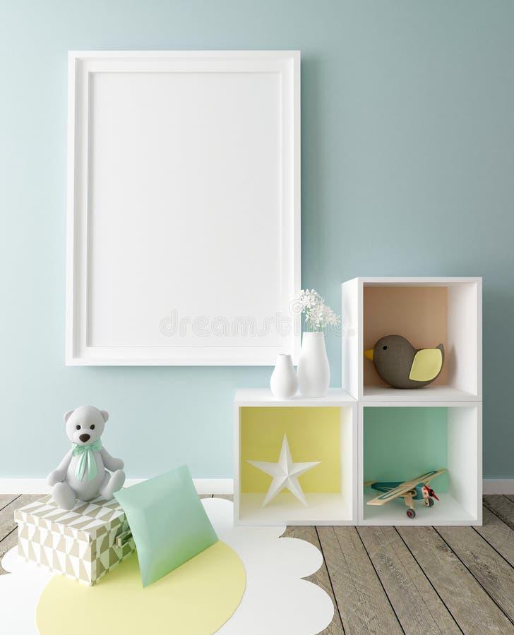 Mock Up Poster In Nursery Interior Stock Illustration