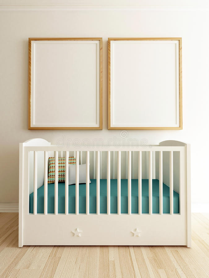 Mock Up Poster in Nursery Interior royalty free stock images