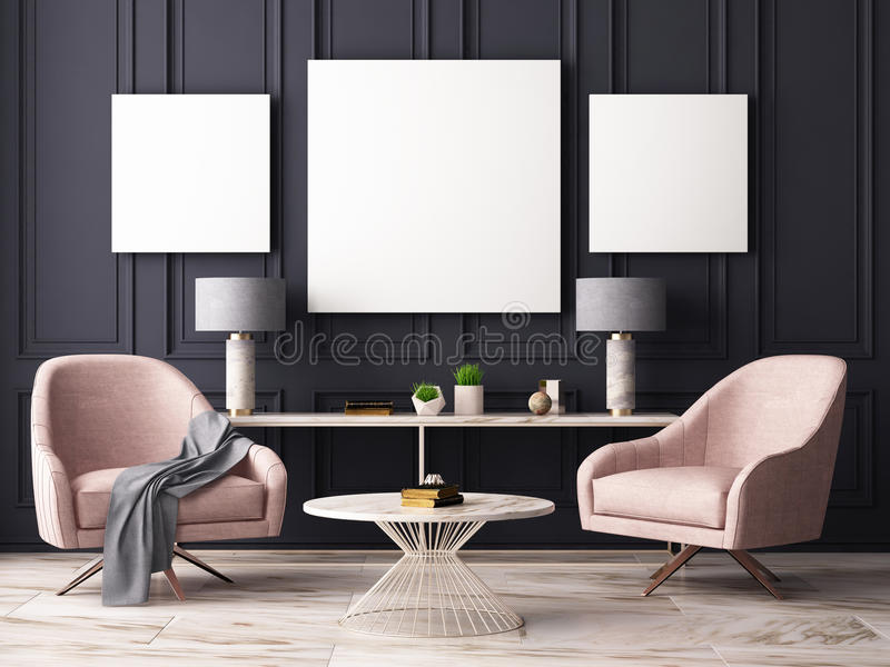 Mock up poster in a pastel interior with armchairs and a table. 3D rendering royalty free illustration
