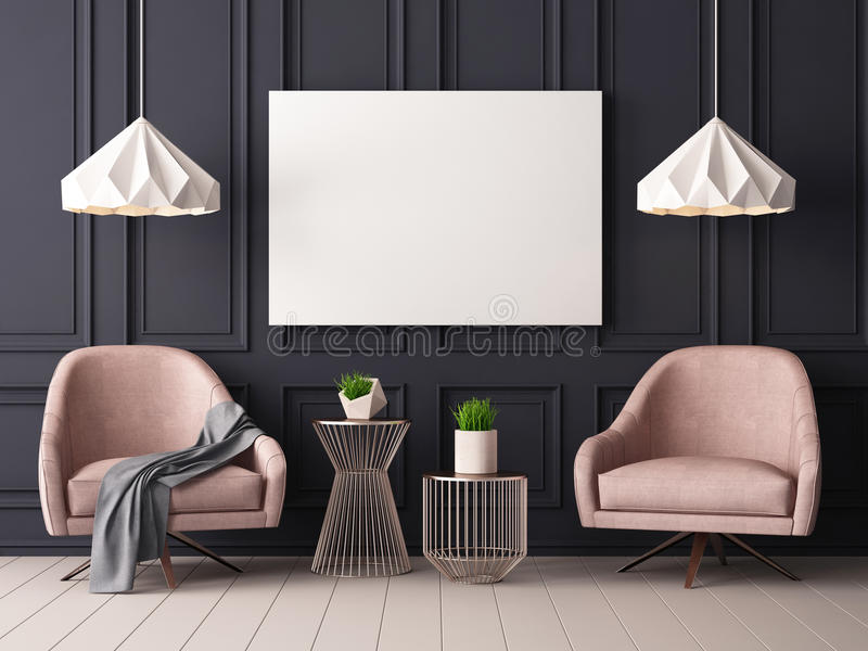 Mock up poster in a pastel interior with armchairs and a table. 3D rendering stock illustration