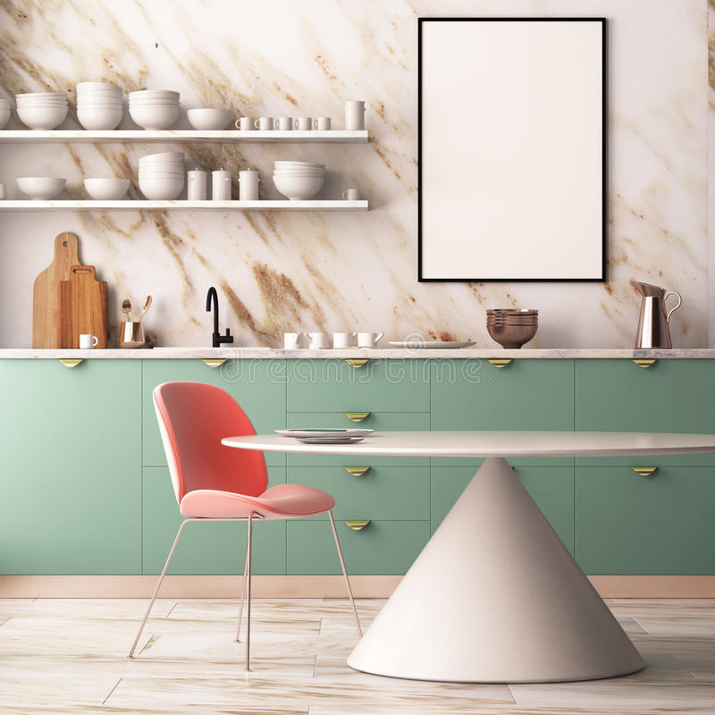 Mock Up Poster In A Pastel Interior With Armchairs And A