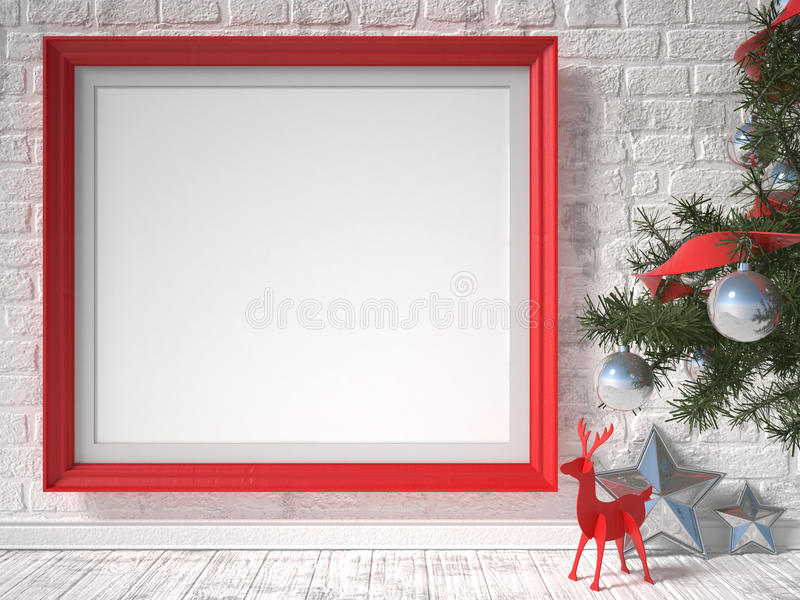 Mock up poster with red reindeer, Christmas tree and stars. 3D render vector illustration