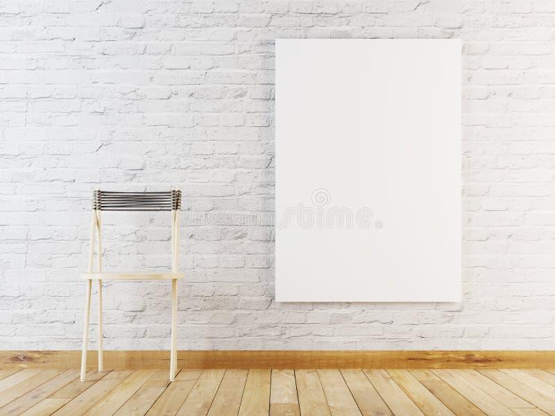 Mock up poster in room, Scandinavian style interior background vector illustration