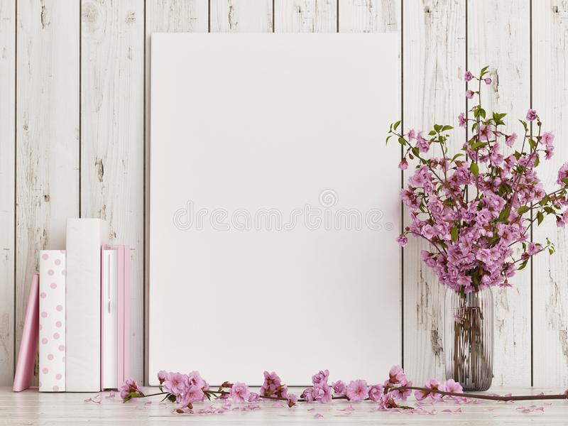 Mock up poster with rose flower decoration on white wooden floor royalty free stock image