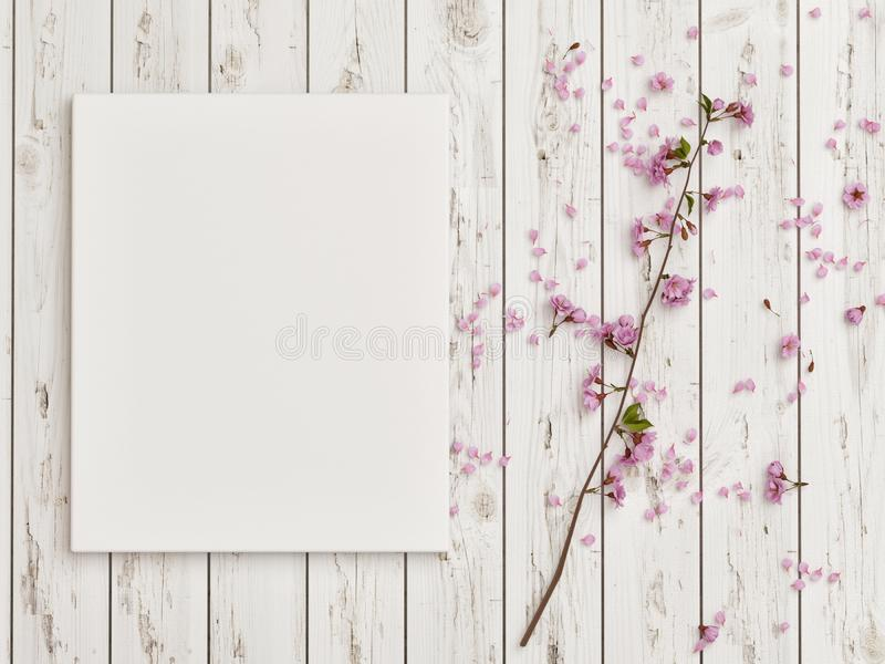Mock up poster with rose flower decoration on white wooden floor stock photography