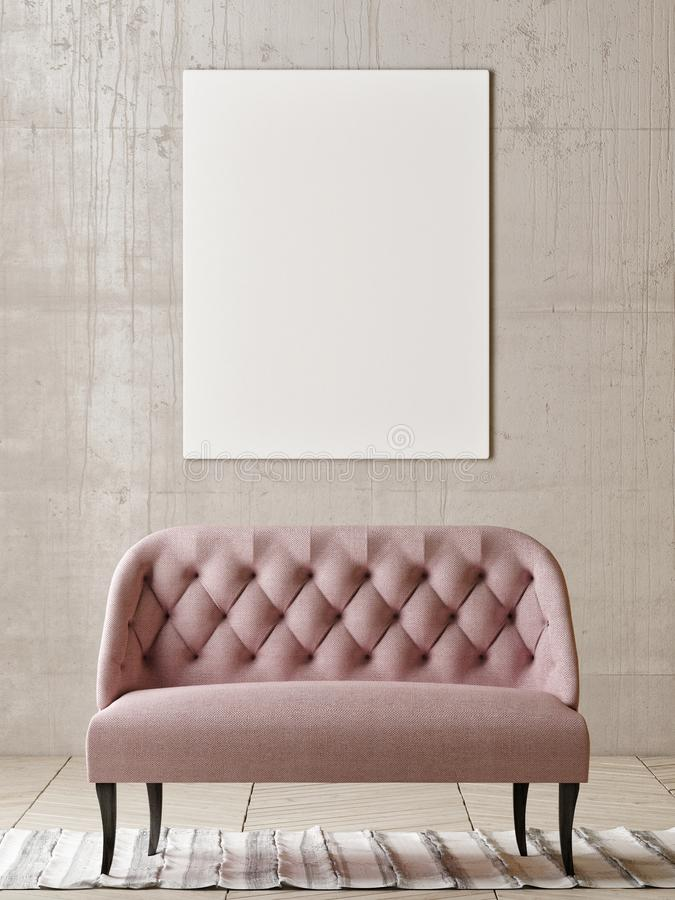 Mock up poster with rose sofa in empty room royalty free illustration