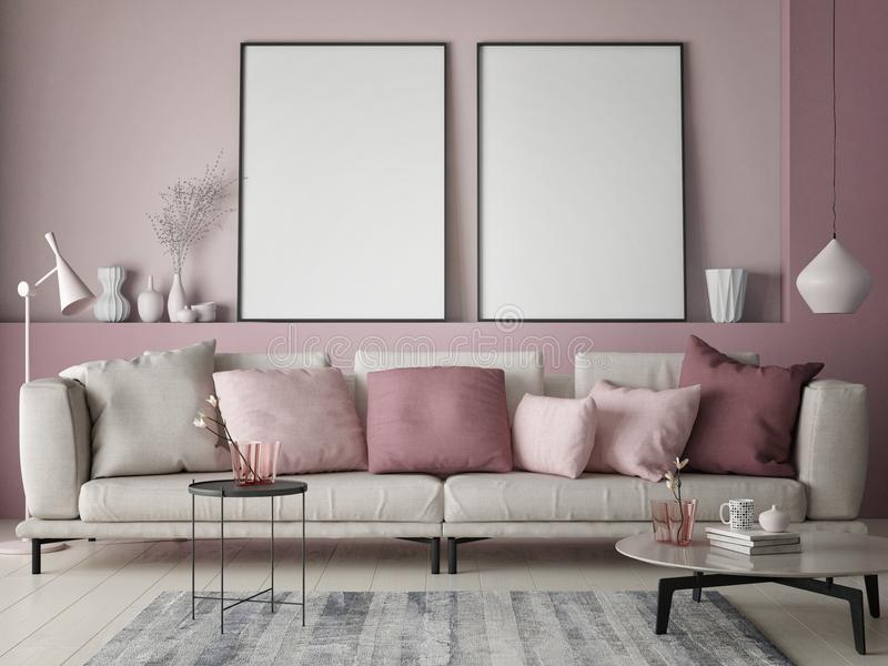 Mock up poster on rose wall in hipster living room, pastel colored. 3d render, 3d illustration royalty free illustration