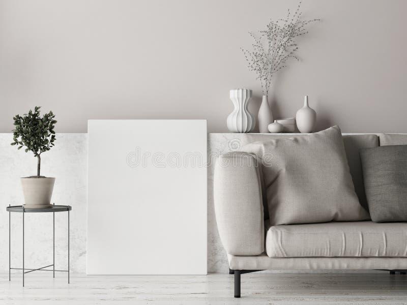 Mock up poster, Scandinavian background design, pastel colored royalty free illustration
