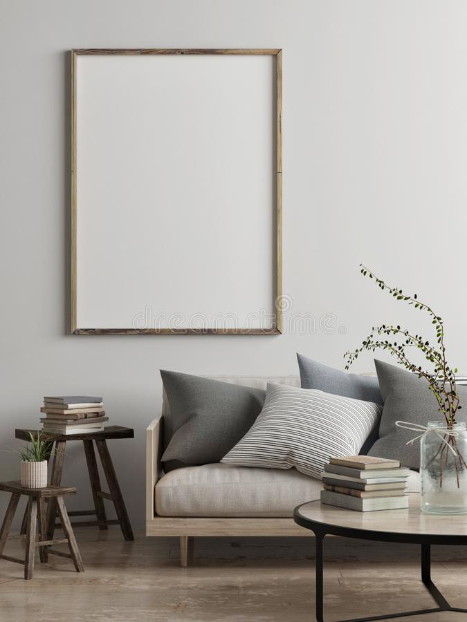 Free Mock Up Poster, Scandinavian Living Room Concept Design Royalty Free Stock Photography - 111807807