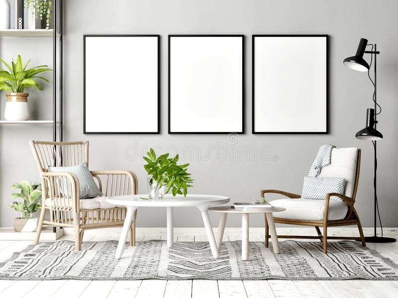 Mock up poster in Scandinavian Living Room with decoration stock images