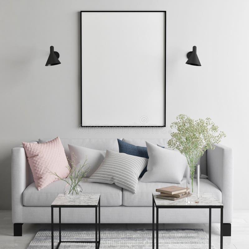 Mock up poster in Scandinavian living room, your art work here,. 3d render, 3d illustration stock illustration