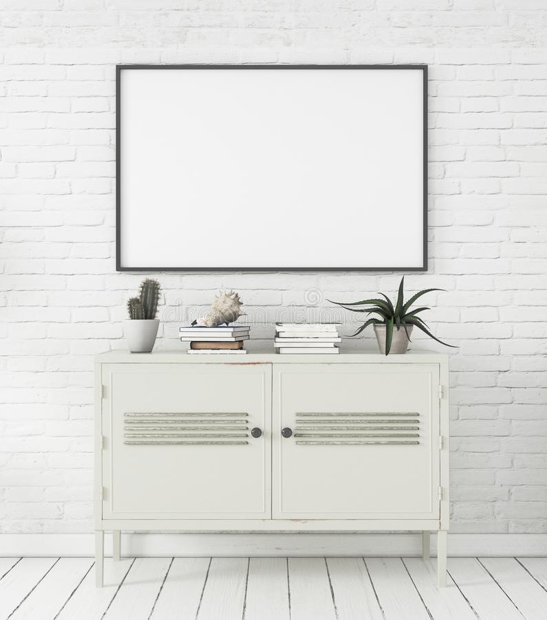 Mock-up poster in Scandinavian style home interior with chest of drawers and plants. 3d render stock image