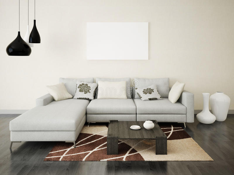 Mock Up Poster Stylish Living Room Stock Illustration