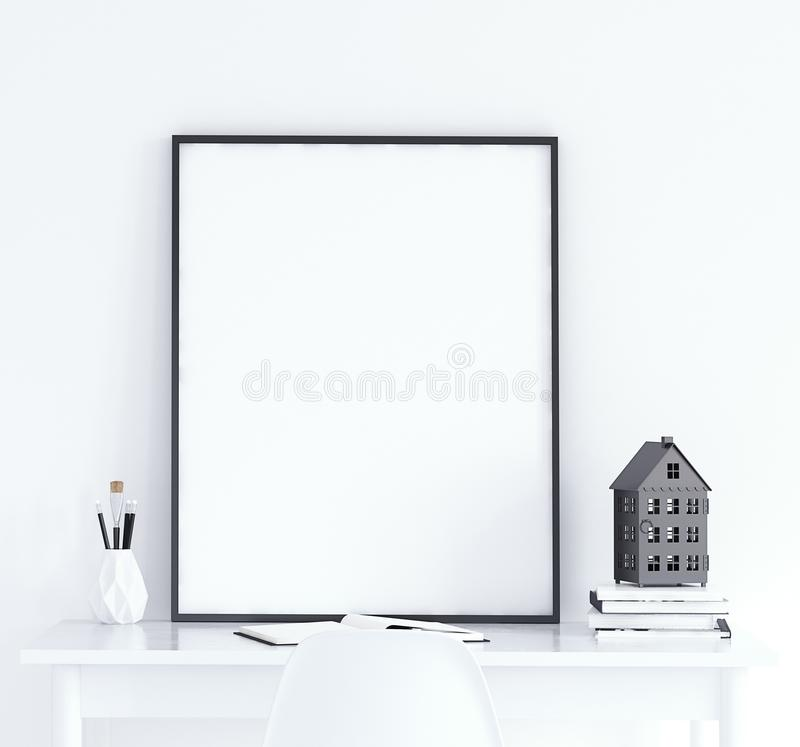 Mock up poster on table, Scandinavian style royalty free stock images