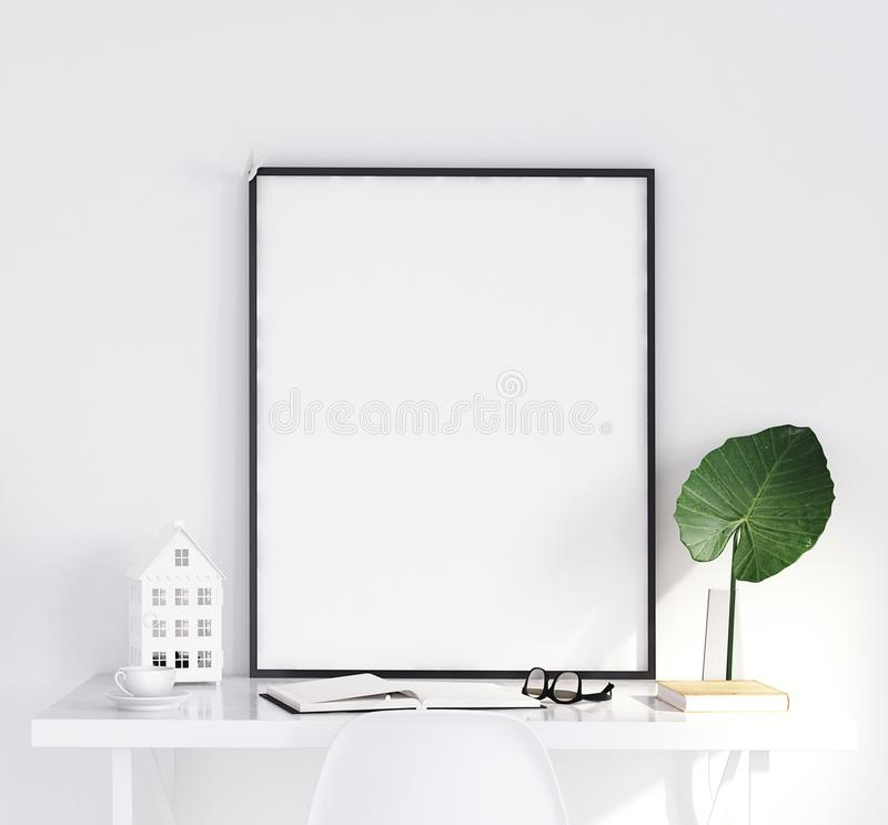 Mock up poster on table, Scandinavian style royalty free stock image