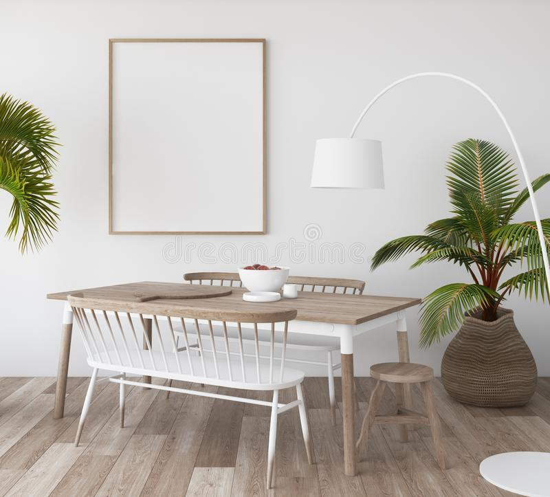 Mock-up poster in tropical living room background, Scandi-boho style. 3d render royalty free stock photos