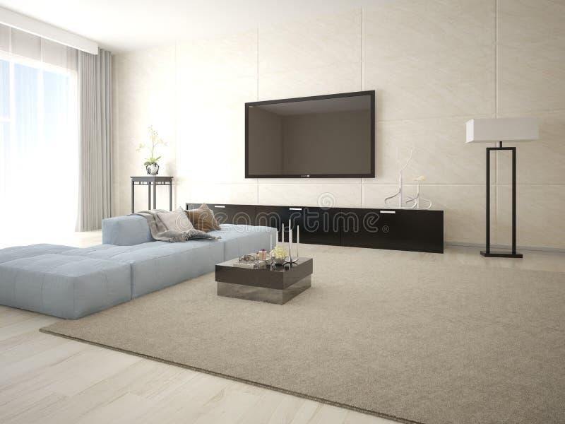 Mock up poster TV in a modern living room. Mock up poster TV in a modern living room with stylish furniture vector illustration
