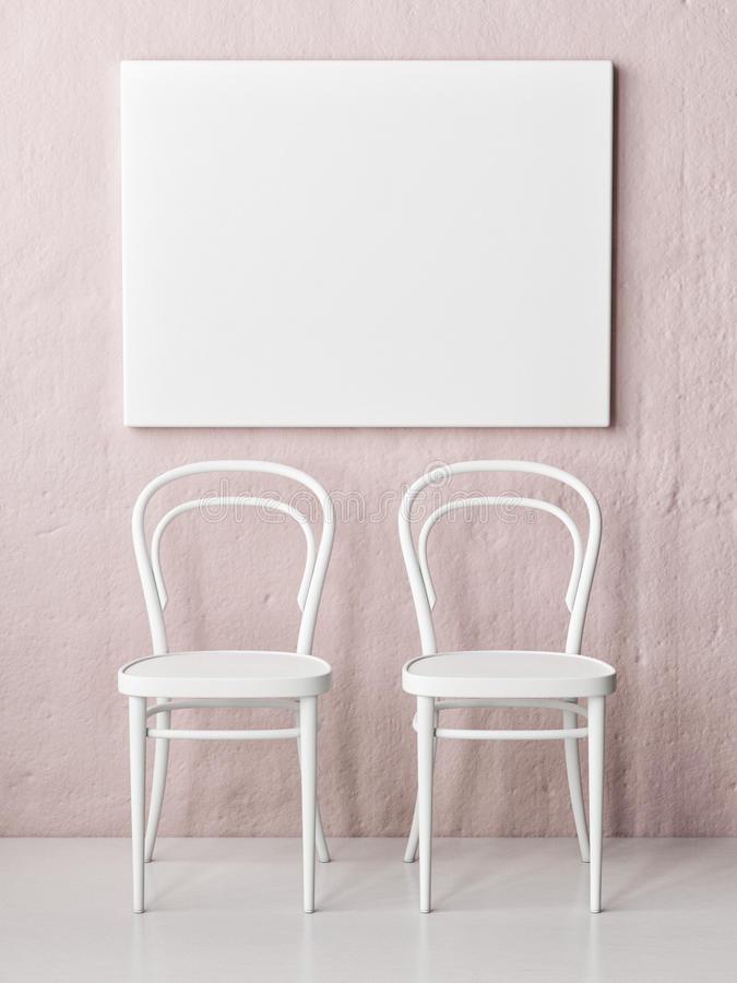 Mock up poster, two chairs in front of rose wall. 3d render vector illustration