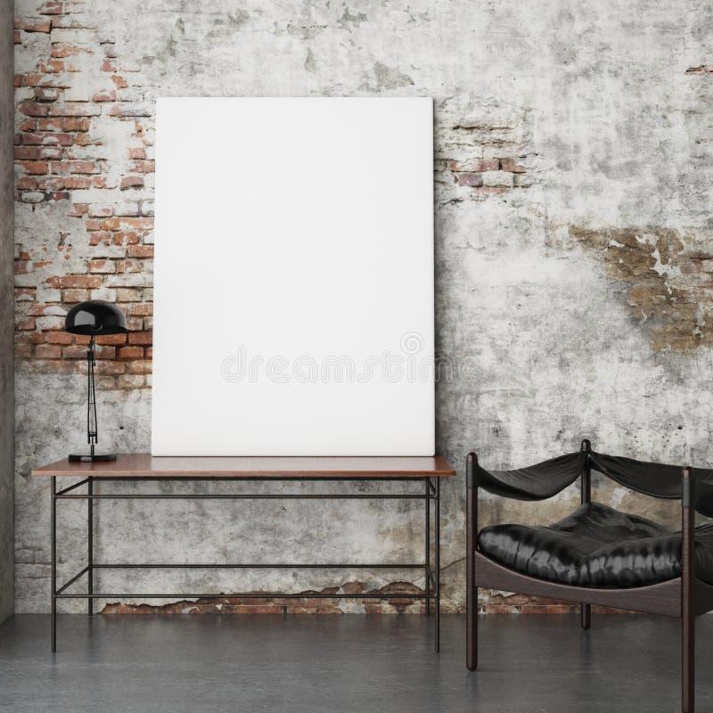 Mock up poster, vintage hipster brick wall background, stock illustration
