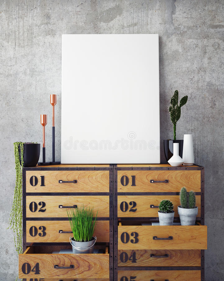 Mock up poster with vintage hipster loft interior background royalty free stock photo