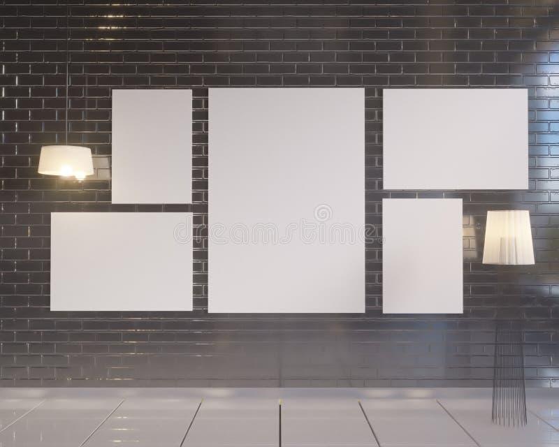 Mock up poster with vintage pastel hipster minimalism loft interior background, 3D rendering stock illustration