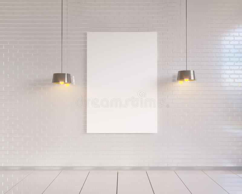 Mock up poster with vintage pastel hipster minimalism loft interior background, 3D rendering royalty free illustration