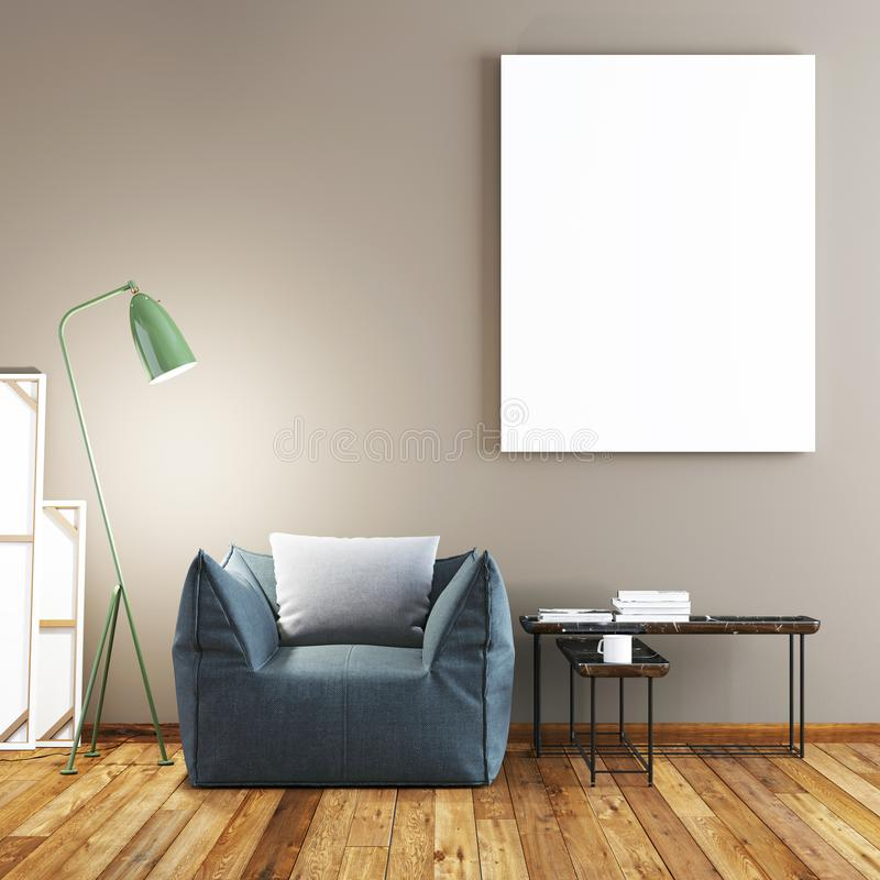 Mock up poster with vintage pastel hipster minimalism loft interior background stock illustration