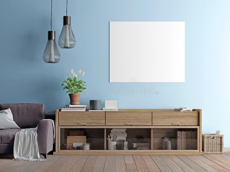 Mock up poster with vintage pastel minimalism interior. vector illustration