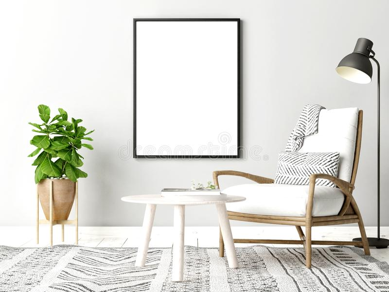 Mock up poster on wall background, Scandinavian design royalty free stock image