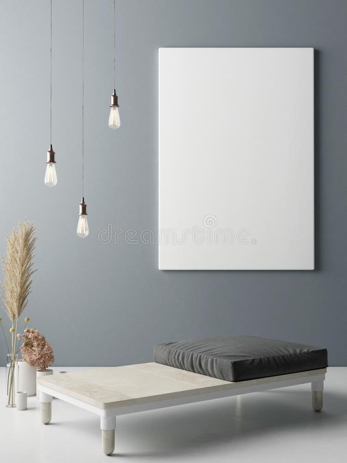 Mock up poster on wall, Minimalism interior design vector illustration