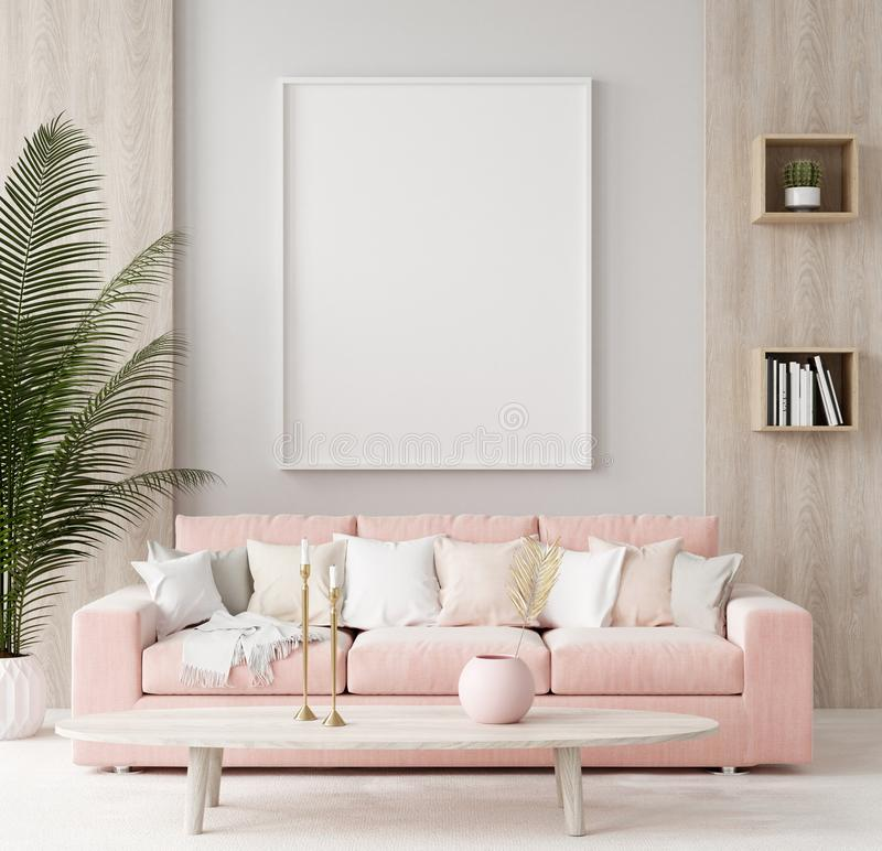 Mock up poster in warm home interior background, springtime. 3d render stock photos