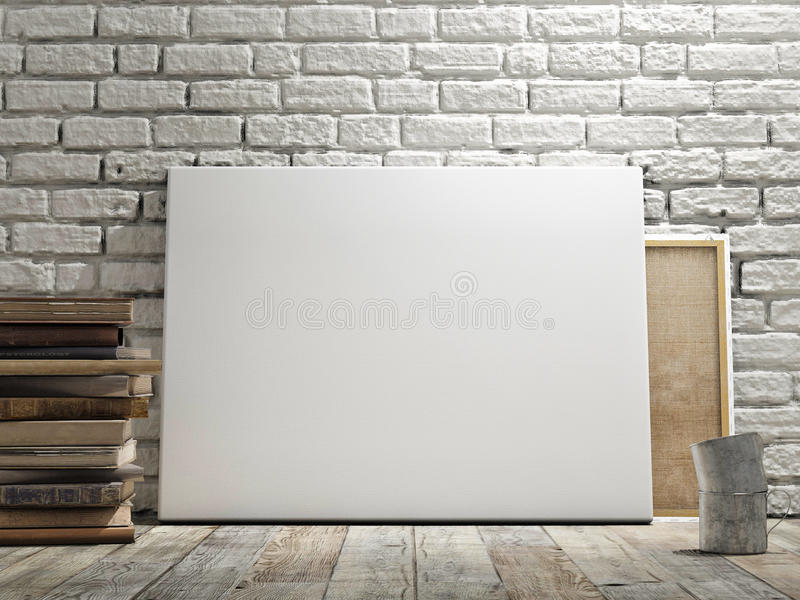 Mock up poster in white brick wall, wooden floor and wintge background. Horizontal concept. Mock up poster in white brick wall, wooden floor and wintge royalty free illustration