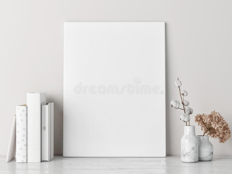 Mock up poster on white floor, Scandinavian style. 3d render, 3d illustration vector illustration