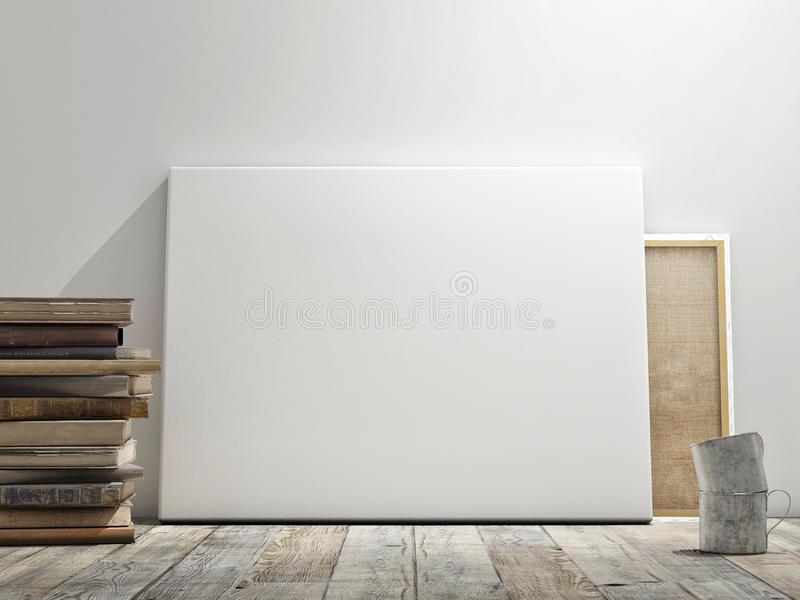 Mock up poster in white wall, wooden floor and wintge background. Horizontal concept royalty free illustration