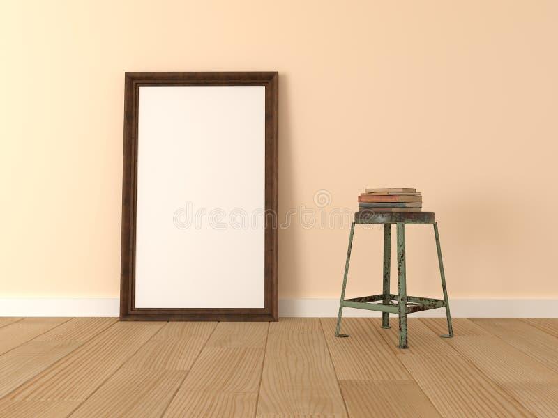 Mock up poster, wooden frame in room royalty free illustration