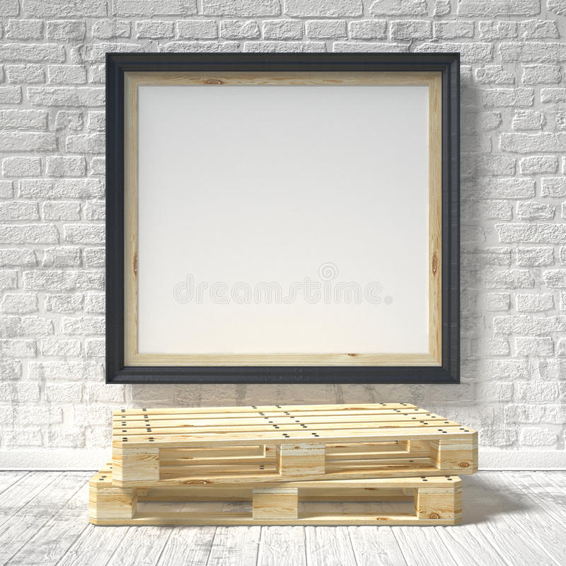 Mock up poster with wooden pallet. 3D vector illustration